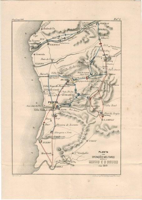 Planta das operaçoes melitares entre Minho e o Douro em 1809. Grabado de Carvalho