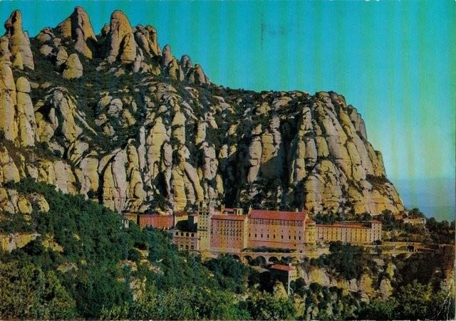 Tarjeta postal Montserrat. El Santuari des de St. Miquel. El santuario desde San Miguel