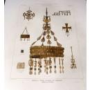 Coronas y cruces visigodas en Guarrazar. Término de Guadamur (Toledo). Teo Ruffie. Dibujo de F. Aznar y García