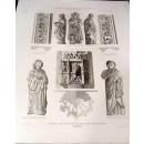 Detalles del claustro de San Juan de los Reyes (Estatuas, planta y molduras de machones) (Toledo). Lo grabó F. Kraus. Dibujo de  G. de la Gándara y G. Mújica.