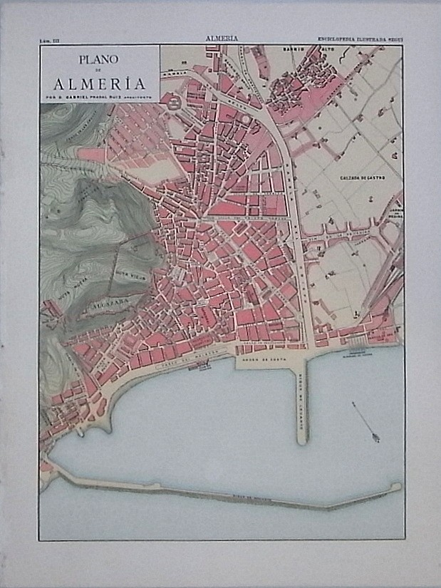 Enciclopedia Ilustrada Seguí. Plano y vistas de la ciudad de Almería