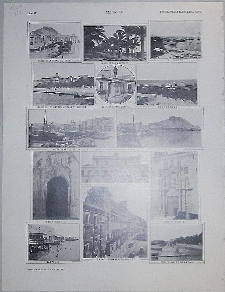 Enciclopedia Ilustrada Seguí. Plano y vistas de la ciudad de Alicante