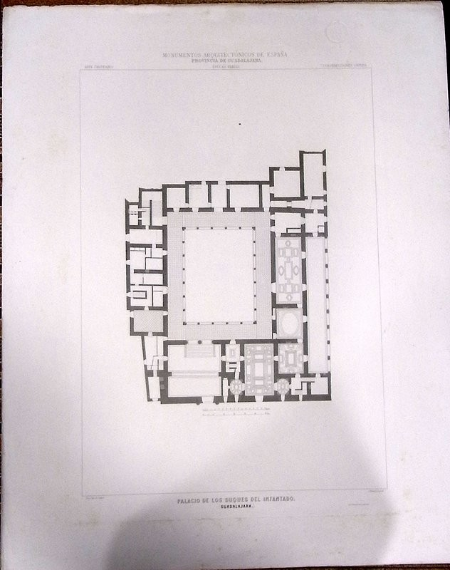 Guadalajara. Planta principal del palacio del Infantado. Lo grabó J. Ramón. Dibujo de la Esc. Sup. de Arq.