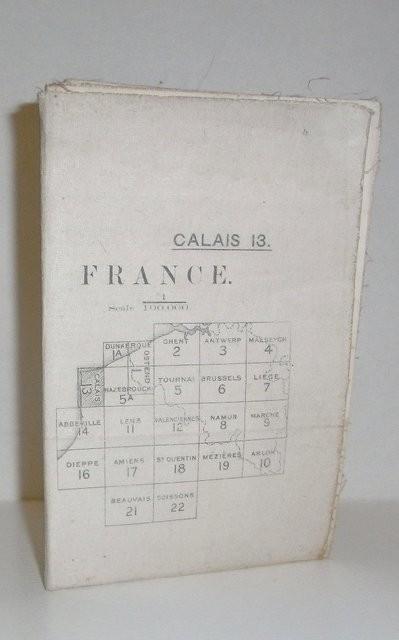 Mapa topográfico de Calais (Francia) 1:100.000. Nº 13. Nov. 1915