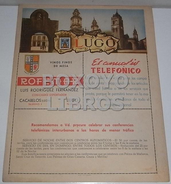 Mapa de la provincia de Lugo. Anuario Telefónico de la Compañía Telefónica Nacional de España (CTNE)