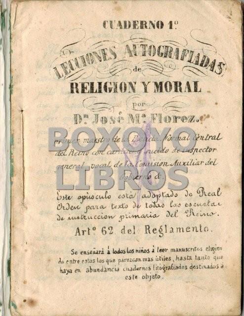 Cuaderno 1º. Lecciones autografiadas de Religión y moral