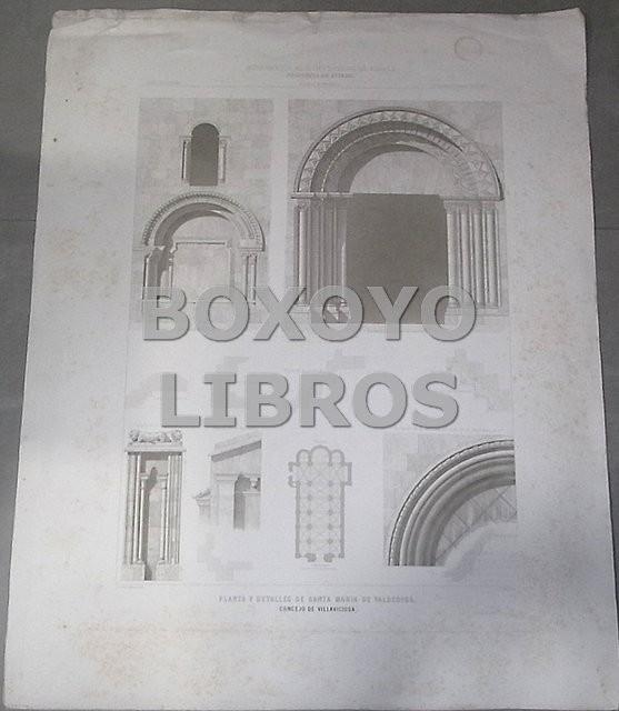Planta y detalles de Santa María de Valdediós. Concejo de Villaviciosa (Oviedo). Lo grabó E. Buxó. Dibujo de G. de la Gándara