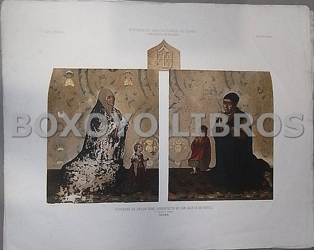 Retratos de Johan Guas (Arquitecto de San Juan de los Reyes), su nujer e hijos (Toledo). Pintura mural.. Dibujo de P. Gonzalvo