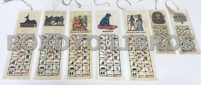 7 marcapáginas Hieroglyphic Alphabet (Alfabeto jeroglífico, Egipto)