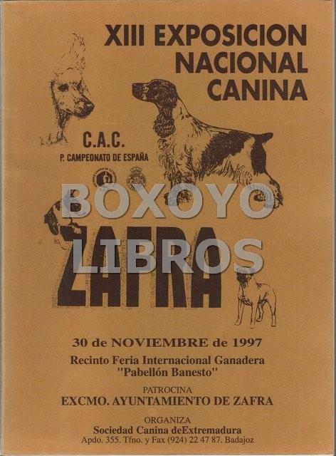 XIII Exposición nacional canina de Zafra. Catálogo