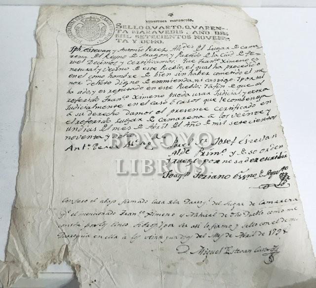 Certificación de honestidad y buena reputación de un vecino de Camarena (Teruel)
