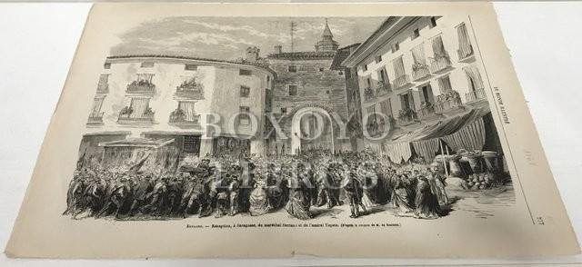 Le Monde Illustré. Espagne- Réception, à Saragosse, du maréchal Serrano et de l'almiral Topete (D'après le croquis de M. de Restand). P. 277