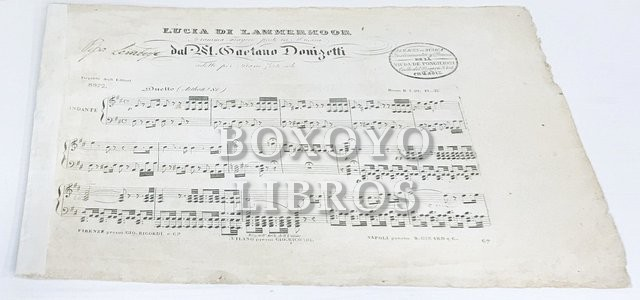Lucia di Lammermoor. Dramma tragico. Posto in Musica dal M. Gaetano Donizetti. Ridotto per Piano Forte: Duetto (Asthon ! Si)