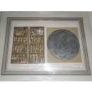 Grabado Disco de Teodosio el Grande (hallado en Almendralejo en 1847) y Díptico de marfil existente en el Monasterio del Escorial